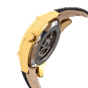 Heritor Automatic Daniels Semi-Skeleton Leather-Band Watch - Gold/Black - HERHR7405
