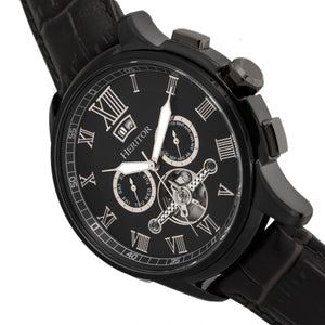 Heritor Automatic Hudson Semi-Skeleton Leather-Band Watch w/Day/Date - Black - HERHR7505