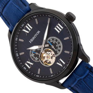 Heritor Automatic Harding Semi-Skeleton Leather-Band Watch - Black/Blue - HERHR9005
