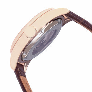 Heritor Automatic Barnes Leather-Band Watch w/Date - Rose Gold/Brown - HERHR7107
