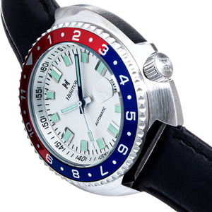 Heritor Automatic Pierce Leather-Band Watch w/Date - White/Red&Blue - HERHS1202