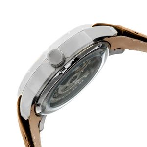 Heritor Automatic Ryder Skeleton Leather-Band Watch - Brown/White - HERHR4603