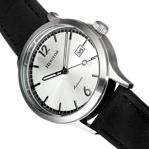 Heritor Automatic Becker Leather-Band Watch w/Date - Silver - HERHR9601
