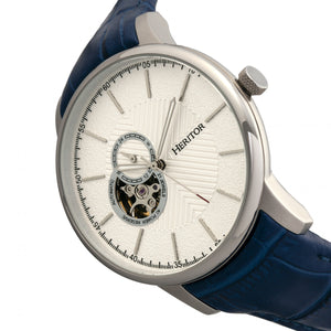 Heritor Automatic Landon Semi-Skeleton Leather-Band Watch - Silver/Blue - HERHR7704