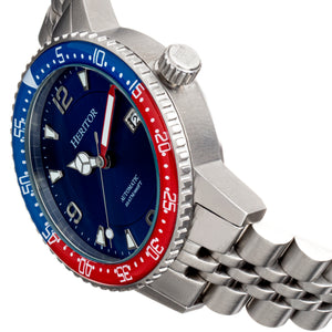 Heritor Automatic Dominic  Bracelet Watch w/Date - Red&Blue/Blue - HERHR9806