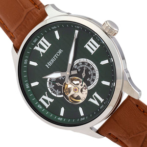 Heritor Automatic Harding Semi-Skeleton Leather-Band Watch - Silver/Green - HERHR9003