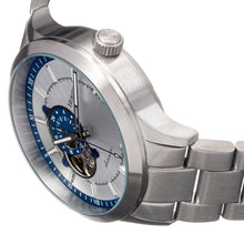 Load image into Gallery viewer, Heritor Automatic Oscar Semi-Skeleton Bracelet Watch - Blue/Silver - HERHS1009