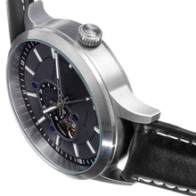 Load image into Gallery viewer, Heritor Automatic Oscar Semi-Skeleton Leather-Band Watch - Grey/Black - HERHS1003
