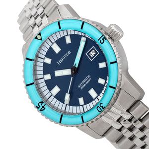 Heritor Automatic Edgard Bracelet Diver's Watch w/Date - Light Blue/Navy - HERHR9104