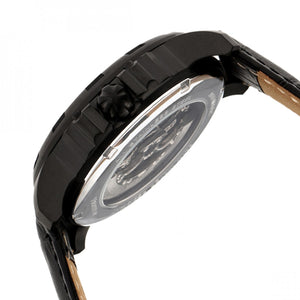 Heritor Automatic Bonavento Semi-Skeleton Leather-Band Watch - Black - HERHR5606