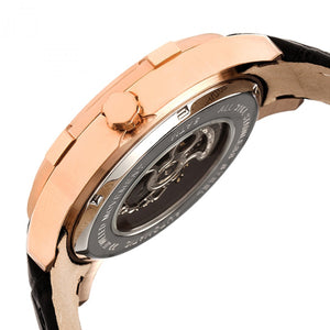Heritor Automatic Callisto Semi-Skeleton Leather-Band Watch - Rose Gold/Black - HERHR7205