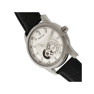 Heritor Automatic Davidson Semi-Skeleton Leather-Band Watch - Silver - HERHR8001
