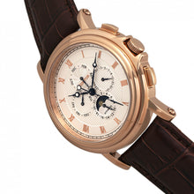 Load image into Gallery viewer, Heritor Automatic Kingsley Leather-Band Watch w/Day/Date - Rose Gold/White - HERHR4809
