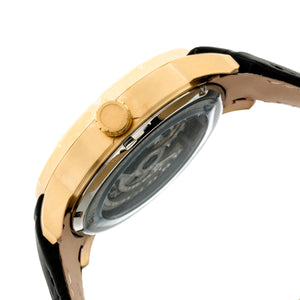 Heritor Automatic Ryder Skeleton Leather-Band Watch - Black/Gold - HERHR4604