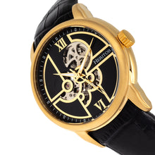 Load image into Gallery viewer, Heritor Automatic Sanford Semi-Skeleton Leather-Band Watch - Gold/Black - HERHR8303
