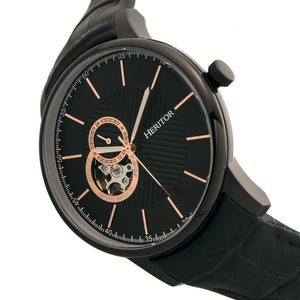 Heritor Automatic Landon Semi-Skeleton Leather-Band Watch - Black - HERHR7706
