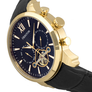Heritor Automatic Arthur Semi-Skeleton Leather-Band Watch w/ Day/Date - Gold/Black - HERHR7905