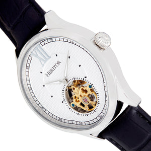 Heritor Automatic Hayward Semi-Skeleton Leather-Band Watch - Silver - HERHR9401