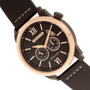 Heritor Automatic Wellington Leather-Band Watch - Rose Gold/Black - HERHR8206