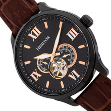 Load image into Gallery viewer, Heritor Automatic Harding Semi-Skeleton Leather-Band Watch - Black - HERHR9006