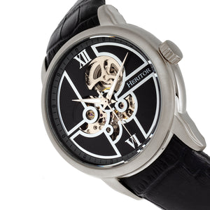 Heritor Automatic Sanford Semi-Skeleton Leather-Band Watch - Silver/Black - HERHR8302
