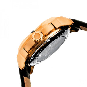 Heritor Automatic Lennon Semi-Skeleton Leather-Band Watch - Rose Gold/Black - HERHR2806