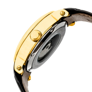 Heritor Automatic Aries Skeleton Leather-Band Watch - Black/Gold - HERHR4406