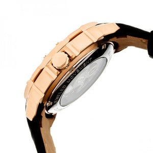 Heritor Automatic Conrad Skeleton Leather-Band Watch - Rose Gold/Black - HERHR2506