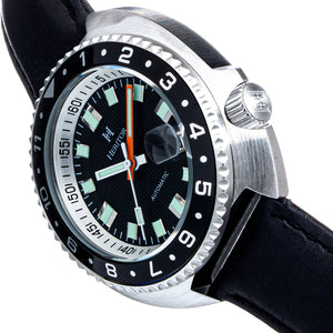 Heritor Automatic Pierce Leather-Band Watch w/Date - Black - HERHS1203
