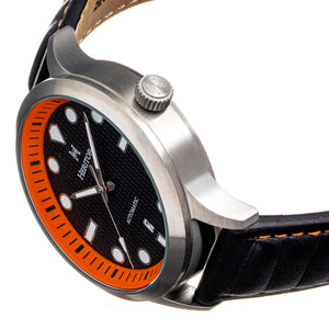 Heritor Automatic Bradford Leather-Band Watch w/Date - Black & Orange - HERHS1105