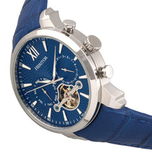 Load image into Gallery viewer, Heritor Automatic Arthur Semi-Skeleton Leather-Band Watch w/ Day/Date - Silver/Blue - HERHR7903