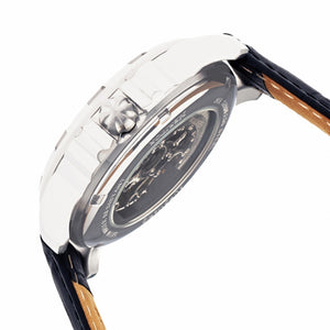 Heritor Automatic Bonavento Semi-Skeleton Leather-Band Watch - Silver - HERHR5601