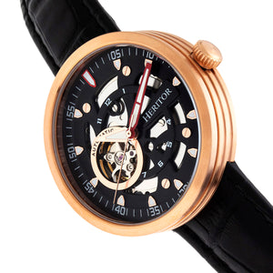 Heritor Automatic Jasper Skeleton Leather-Band Watch - Rose Gold/Black - HERHR8707
