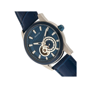 Heritor Automatic Davidson Semi-Skeleton Leather-Band Watch - Blue - HERHR8004