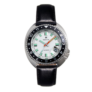 Heritor Automatic Pierce Leather-Band Watch w/Date - White/Black - HERHS1201