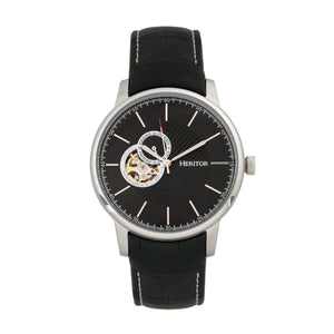 Heritor Automatic Landon Semi-Skeleton Leather-Band Watch - Silver/Black - HERHR7702