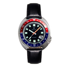 Load image into Gallery viewer, Heritor Automatic Pierce Leather-Band Watch w/Date - Black/Red&Blue - HERHS1204