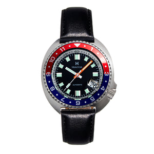 Heritor Automatic Pierce Leather-Band Watch w/Date - Black/Red&Blue - HERHS1204