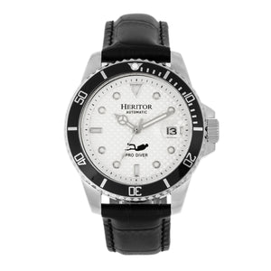 Heritor Automatic Lucius Leather-Band Watch w/Date - Silver/White - HERHR7806
