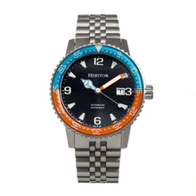 Load image into Gallery viewer, Heritor Automatic Dominic Bracelet Watch w/Date - Light Blue&Orange/Black - HERHR9805