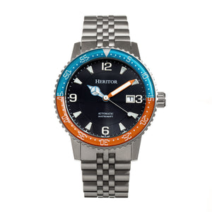 Heritor Automatic Dominic Bracelet Watch w/Date - Light Blue&Orange/Black - HERHR9805