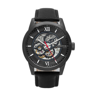 Heritor Automatic Jonas Leather-Band Skeleton Watch
