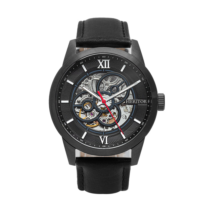 Heritor Automatic Jonas Leather-Band Skeleton Watch - HERHR9506