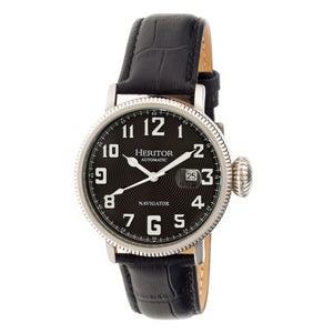 Heritor Automatic Olds Leather-Band Watch - Silver/Black/Black - HERHR3202