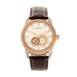 Heritor Automatic Davidson Semi-Skeleton Leather-Band Watch - Rose Gold/Silver - HERHR8003