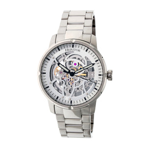 Heritor Automatic Ryder Skeleton Dial Bracelet Watch - Silver/White - HERHR4607