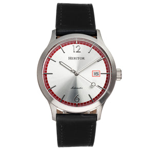Heritor Automatic Becker Leather-Band Watch w/Date - Silver/Red - HERHR9602