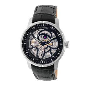 Heritor Automatic Ryder Skeleton Leather-Band Watch - Black - HERHR4602