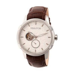 Heritor Automatic Callisto Semi-Skeleton Leather-Band Watch