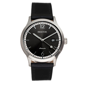 Heritor Automatic Becker Leather-Band Watch w/Date - Silver/Black - HERHR9603